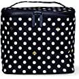 Kate Spade New York Insulated Soft Cooler Lunch Tote with Double Zipper Close and Carrying Handle, Polka Dots (Black/White)