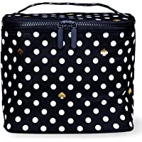 Kate Spade New York Insulated Soft Cooler Lunch Tote with Double Zipper Close and Carrying Handle, Polka Dots (Black…