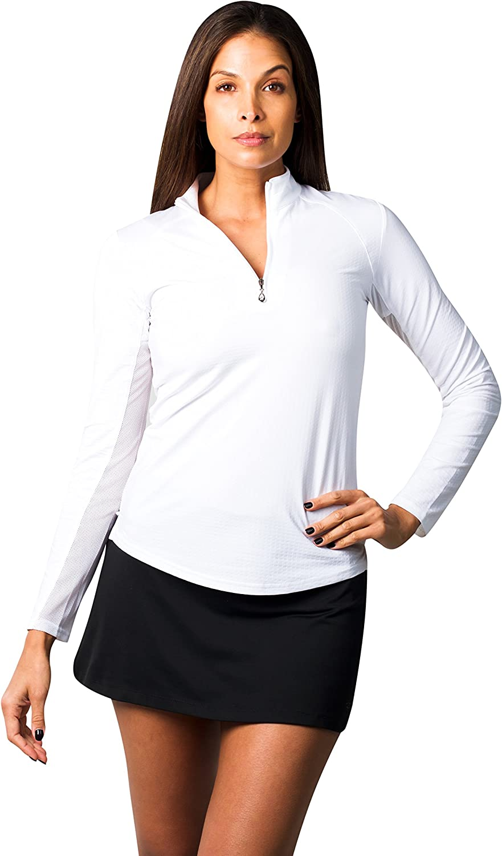 SanSoleil Women's SolTek Ice UV 50 Long Sleeve Zip Neck Mock Top