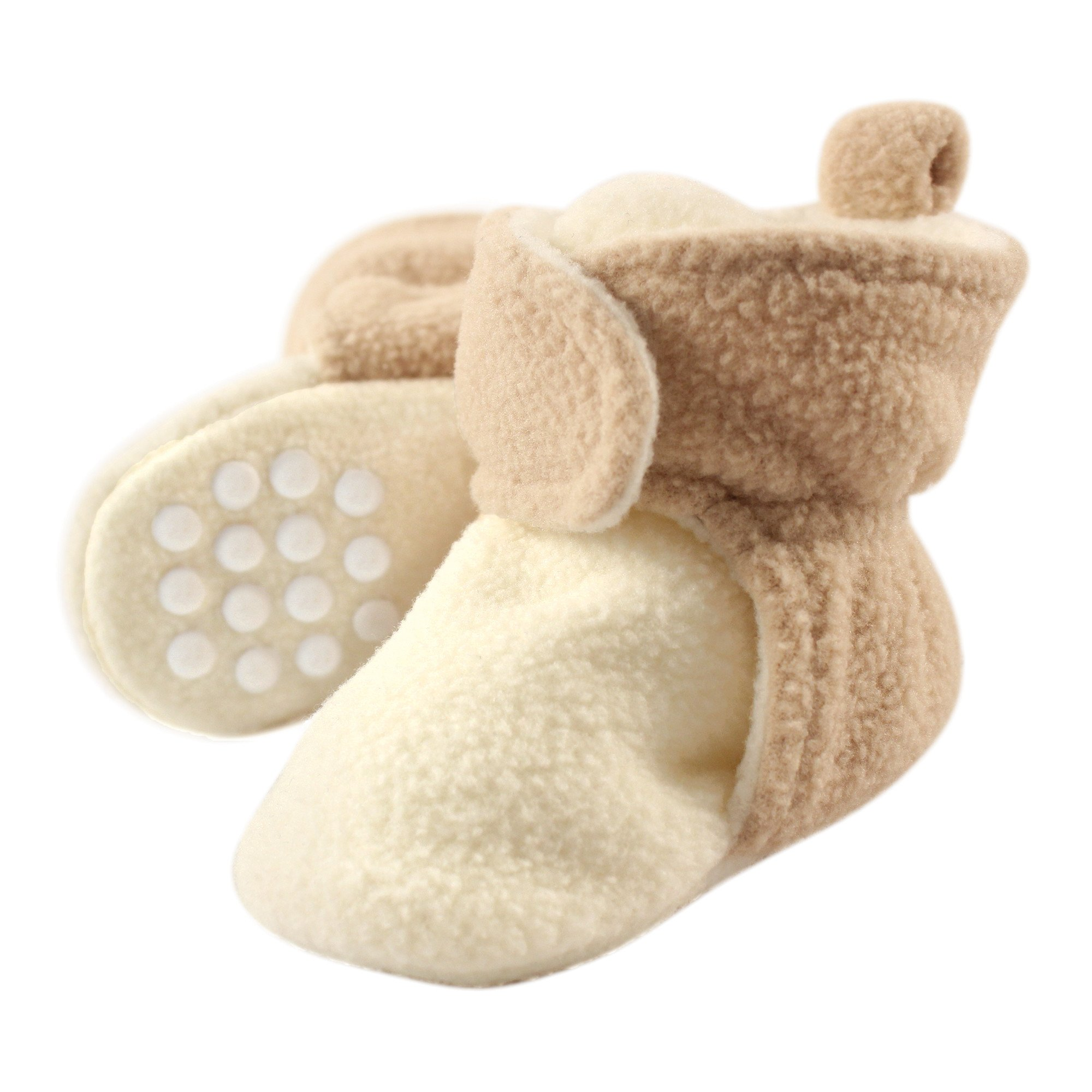 Luvable Friends Baby Cozy Fleece Booties with Non Skid Bottom, Cream/Tan, 12-18 Months