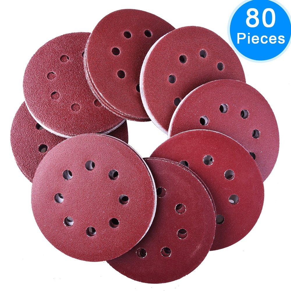 AUSTOR 80 Pieces 8 Holes Sanding Discs, 5 Inch Hook and Loop 60/ 80/ 120/ 240 Grit Sandpaper Assortment for Random Orbital Sander