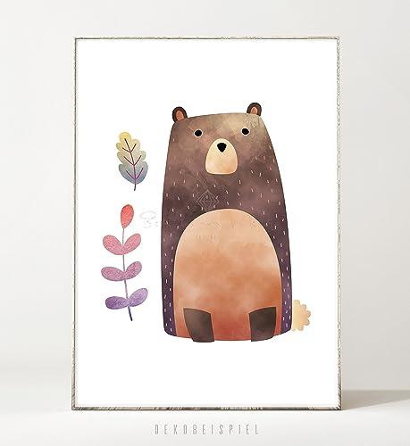 Kunstdruck / Poster FOREST FRIENDS: BEAR -ungerahmt- Bär ...