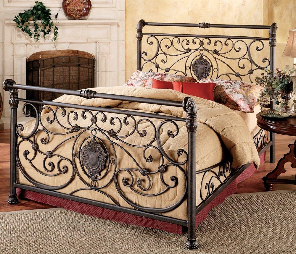 iron bedroom furniture. amazon.com: hillsdale furniture 1039bkr mercer bed set with rails, king, antique brown: kitchen \u0026 dining iron bedroom o