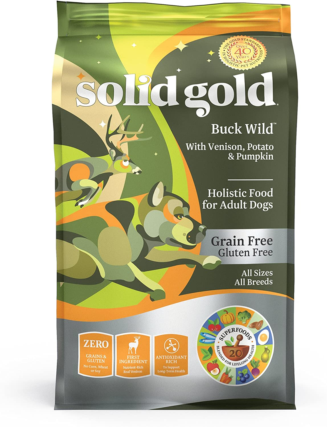 Solid Gold – Buck Wild – Real Natural Venison, Potato and Pumpkin – Grain-Free Holistic Dry Dog Food with Superfoods