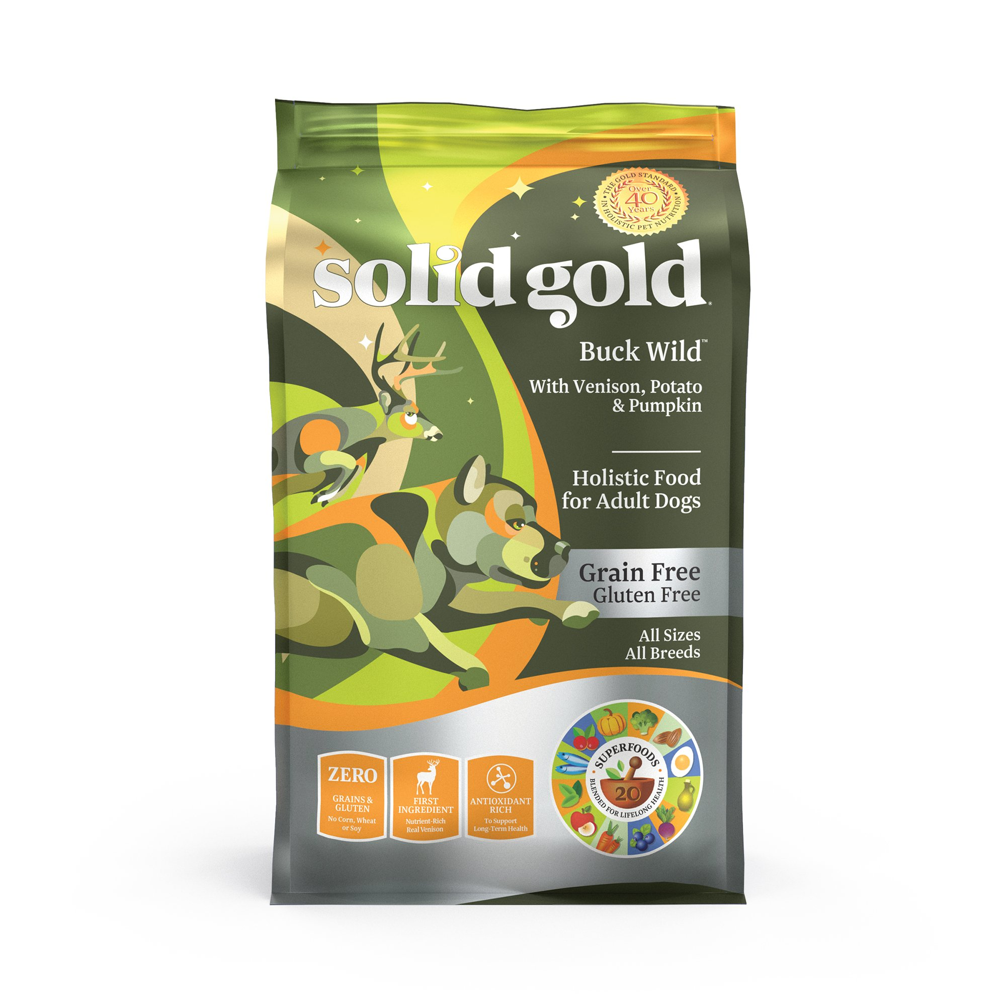 Solid Gold Grain-Free Dry Dog Food With Real Poultry, Fowl Or Game Venison, Potato & Pumpkin