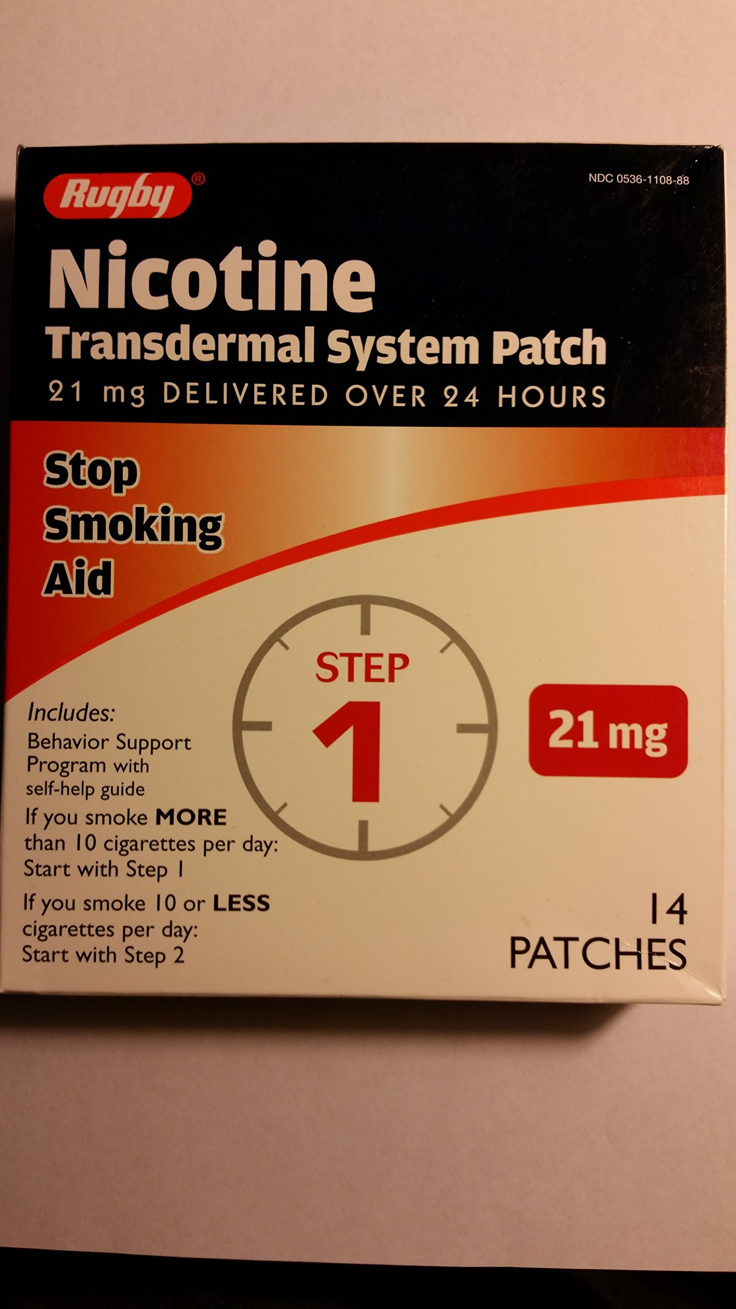 Amazon.com: Rugby Nicotine Transdermal System Opaque Patch Step 1 Stop  Smoking Aid 21 mg 14 Patches: Health & Personal Care