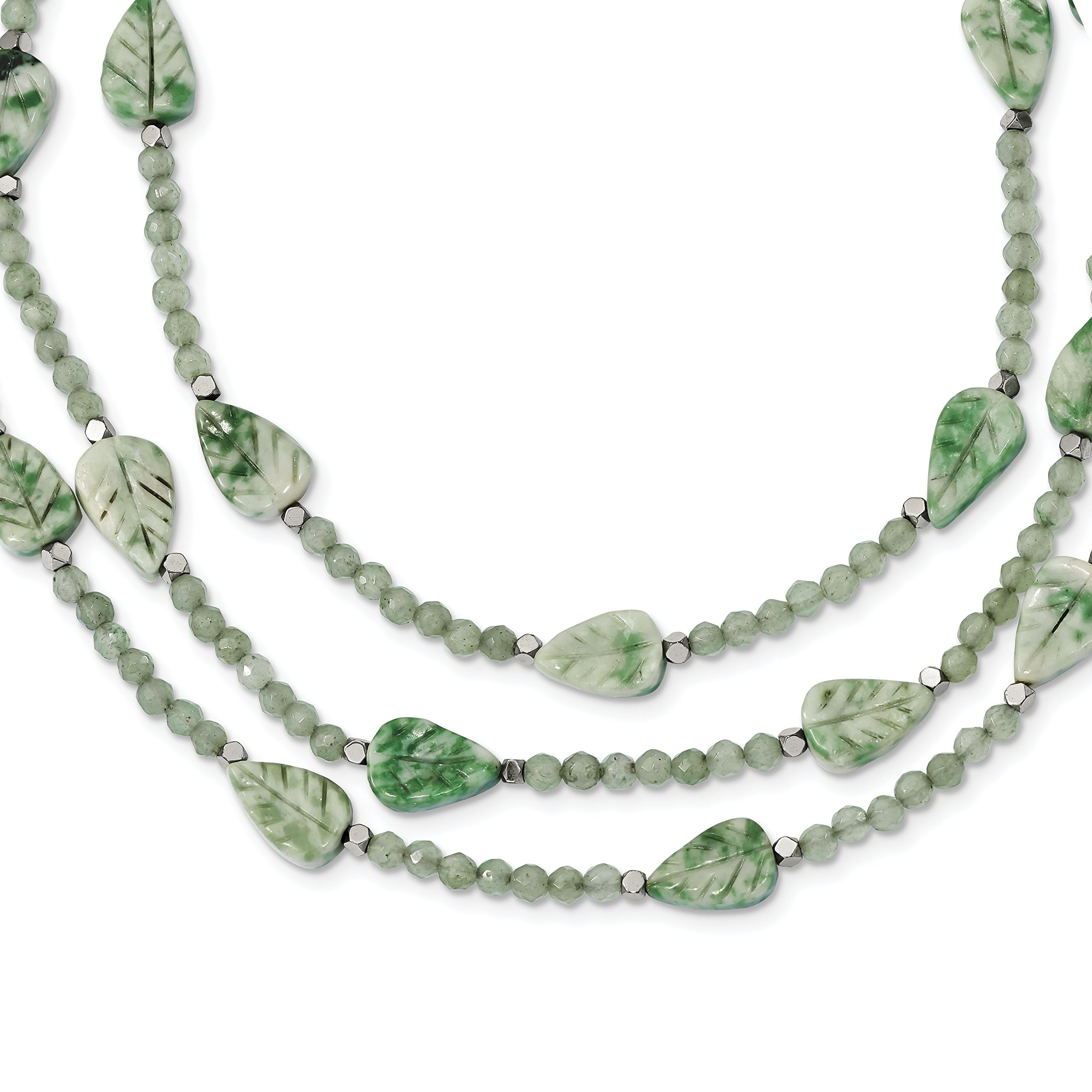 ICE CARATS 925 Sterling Silver Hematite/green Quartz/tree Agate Leaves 3 Strand W2in Extension Chain Necklace Natural Stone Fine Jewelry Gift Set For Women Heart