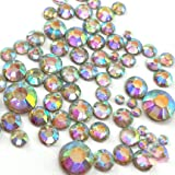 1200 pcs 2mm - 6mm Resin Crystal AB Round Rhinestones Flatback Aurora Borealis Color Craft Supplies Mix Size