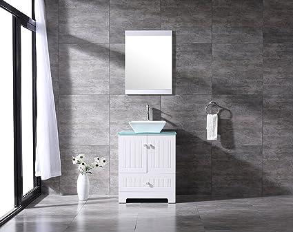 Sliverylake 24u0026quot; Bathroom Vanity Ceramic Vessel Sink Combo PVC Cabinet  Countertop Sink Bowl W/