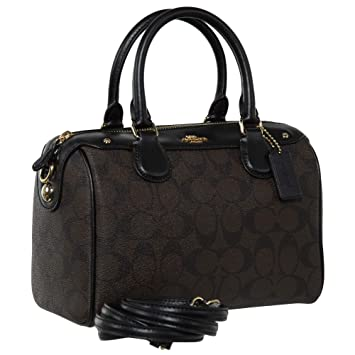 Amazon.com  Coach Signature Mini Bennett Crossbody Satchel Black Brown  Y M  Collection cb05075f16006