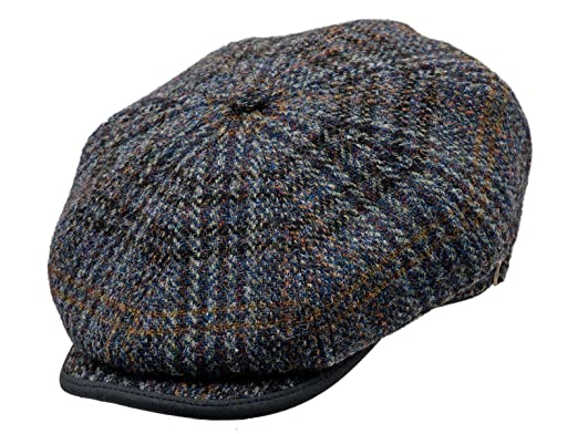 9db33ffee05ba Sterkowski Harris Tweed 8 Panel Gatsby Classic Flat Cap US 6 3 4 Blue Check