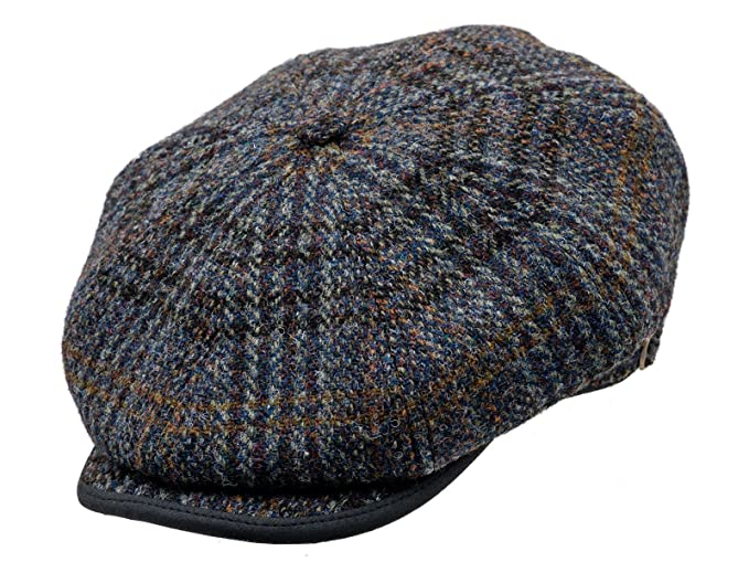 5ceace91aa9 Sterkowski Harris Tweed 8 Panel Gatsby Classic Flat Cap - Blue -  Amazon.co. uk  Clothing