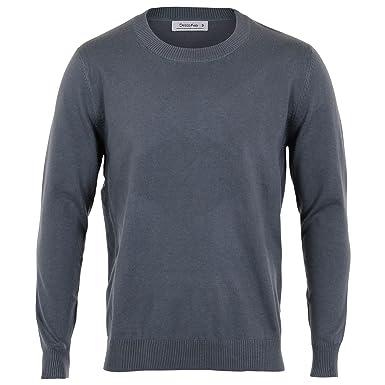 95c109e5e1 KRISP Mens Plain Colour Thin Knit Casual Crew Round Neck Jumper Sweater  Pullover Top (Medium Grey