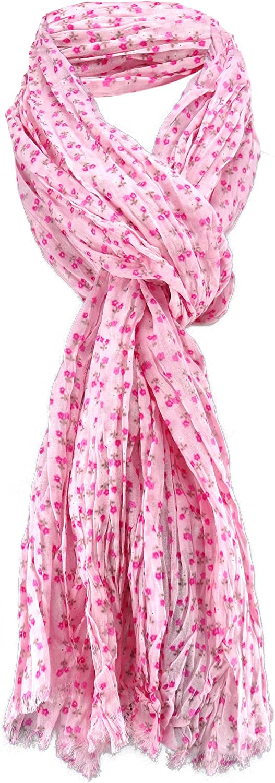 tissu /écharpe coton dames foulard en ros/é pink magenta motif fleur taille 180 cm x 50 cm