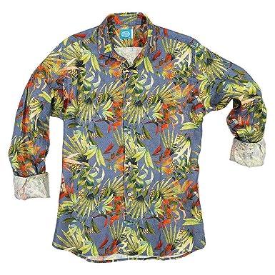 on sale 92973 34c53 Panareha Camicia di Lino Fiori da Uomo Maui Blu: Amazon.it ...