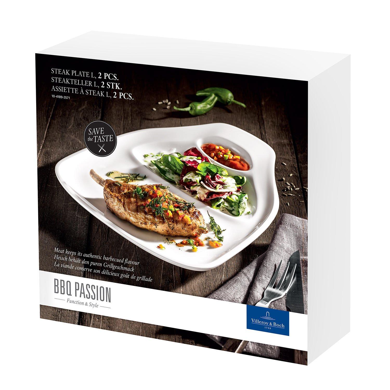 Villeroy & Boch BBQ Passion 1041897515 Set de 2 Platos para Filete l, Porcelana, Blanco: Amazon.es: Hogar