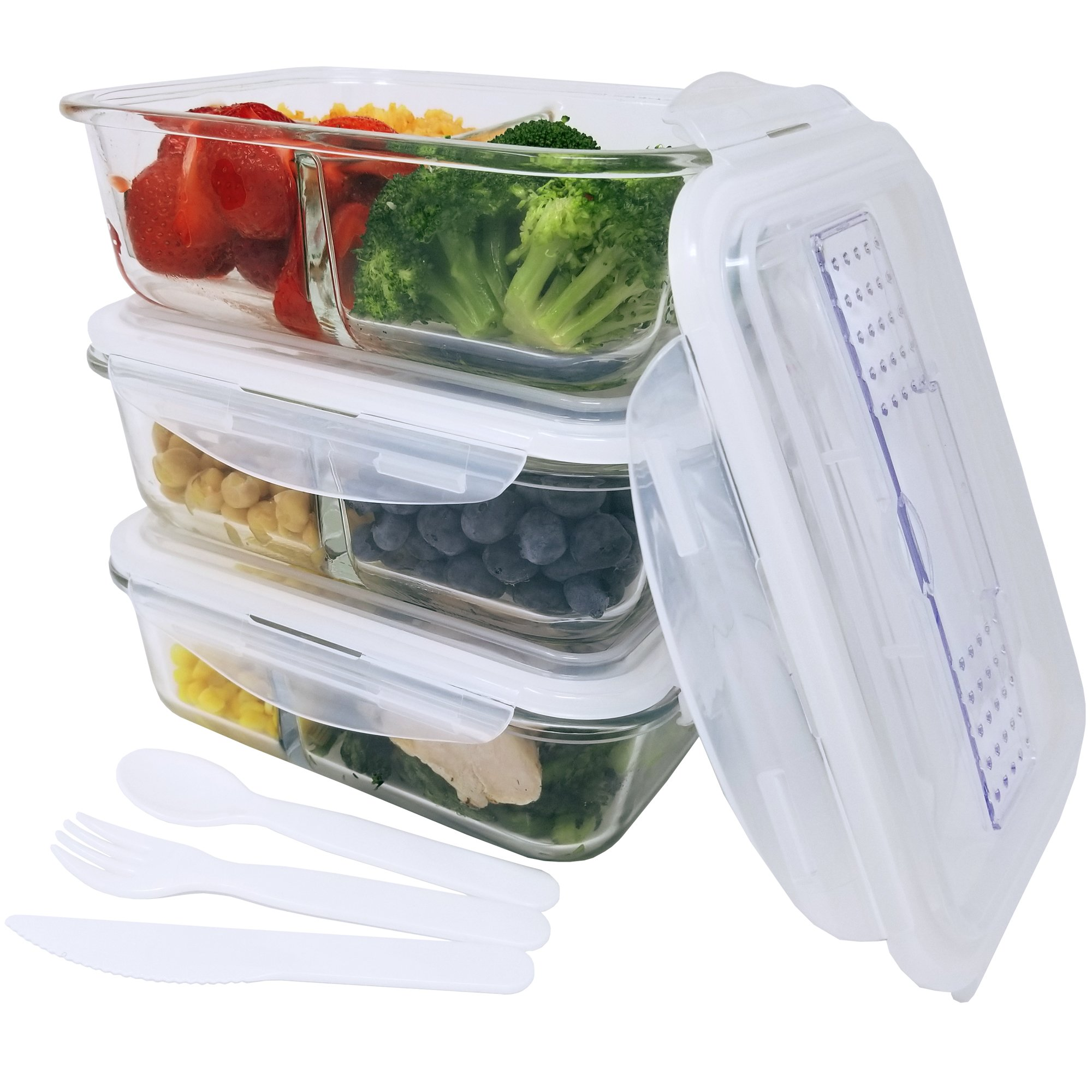 KitchenBasix 2 & 3 Compartments Glass Food Storage Container Set with Airtight Locking Lids, Cutlery Compartment & Portion Control - Microwave, Freezer, Oven & Dishwasher Safe [3-Pack, 32oz]