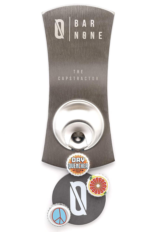 BAR NONE The Capstractor | Bottle Opener Beer Opener Beer Bottle Opener Magnet Magnetic Fridge Bottle Opener Bottle Cap Opener Refrigerator Fridge Beer Bottles for Bartender Cool Openers Church Key