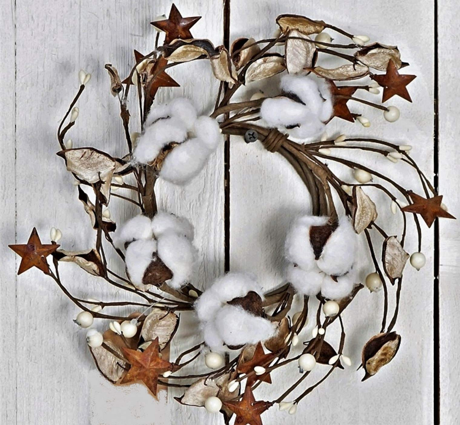 JMB Autumn-Christmas Cotton Ball, Leaves, Pip Berries, and Metal Stars Buyers' Choice of Garland OR Candle Ring (8'' Wreath or Candle Ring) by JMB