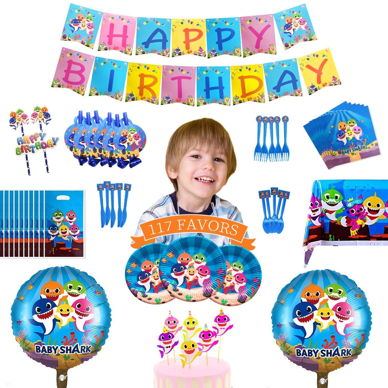 Baby Shark 1st Birthday Party Favor Tableware Decor Balloon Tablecloth Banner