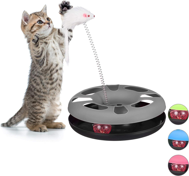Relaxdays Juguete Gato con Ratón y Bola con Cascabel, Cat Toy, Plástico y Hierro, Gris (10023896_111)