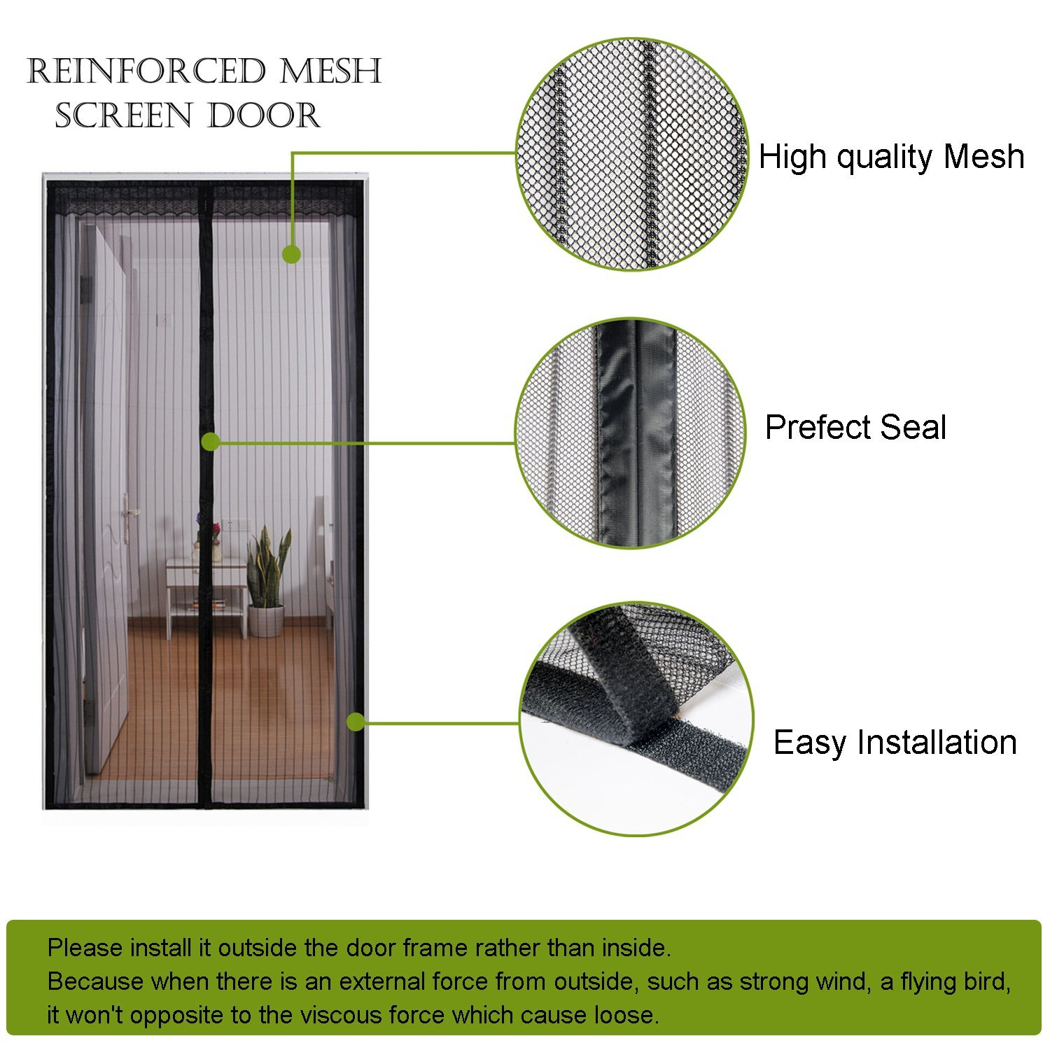 FAMILIFE New Magnetic Screen Door Full Frame Velcro Fits Door ...