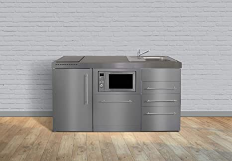 Miniküche Mit Kühlschrank Und Mikrowelle : Miniküche premiumline mpgsmess u edelstahl u kühlschrank