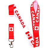 24 Inches Long. Canada White Red Country Flag Lanyard Keychain Passholder . Ne