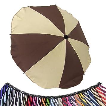 Universal Sonnenschirm Regenschirm f/ür Kinderwagen und Sport Buggy UV-Schutz50+ Sonnensegel Sonnenschutz Beige Babywagen Schirm mit Universal Halterung