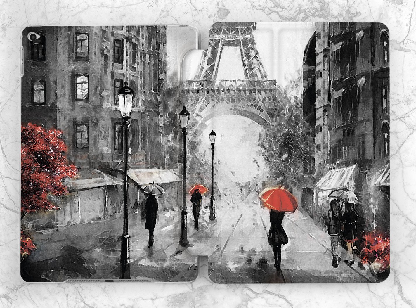 amazon com black and red watercolor paris case for apple ipad mini
