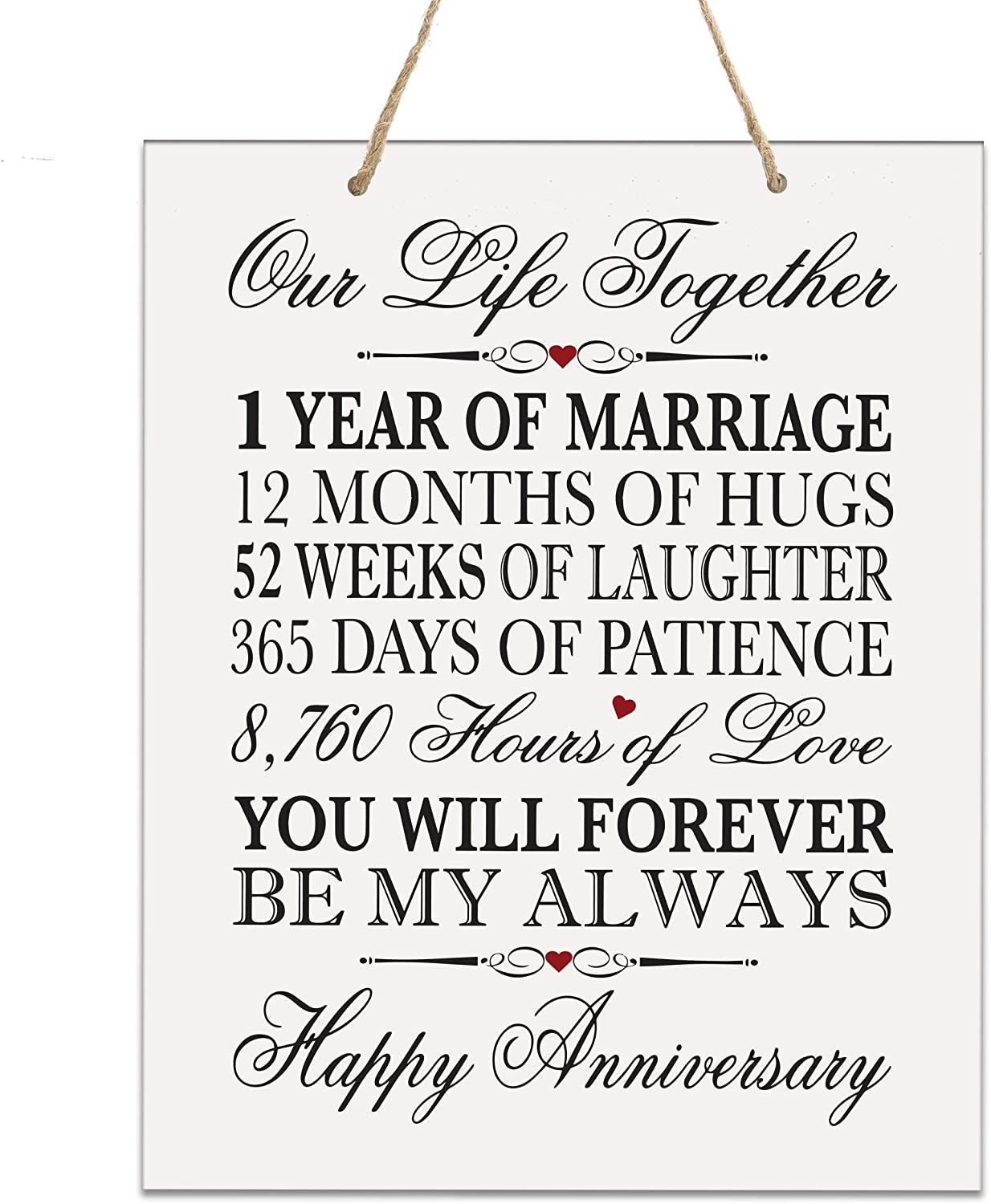 LifeSong Milestones 1st Anniversary Plaque 1 Year of Marriage - One Year Wedding Keepsake Gift for Parents Husband Wife him her - Our Life Together (12x15 Rope Sign)