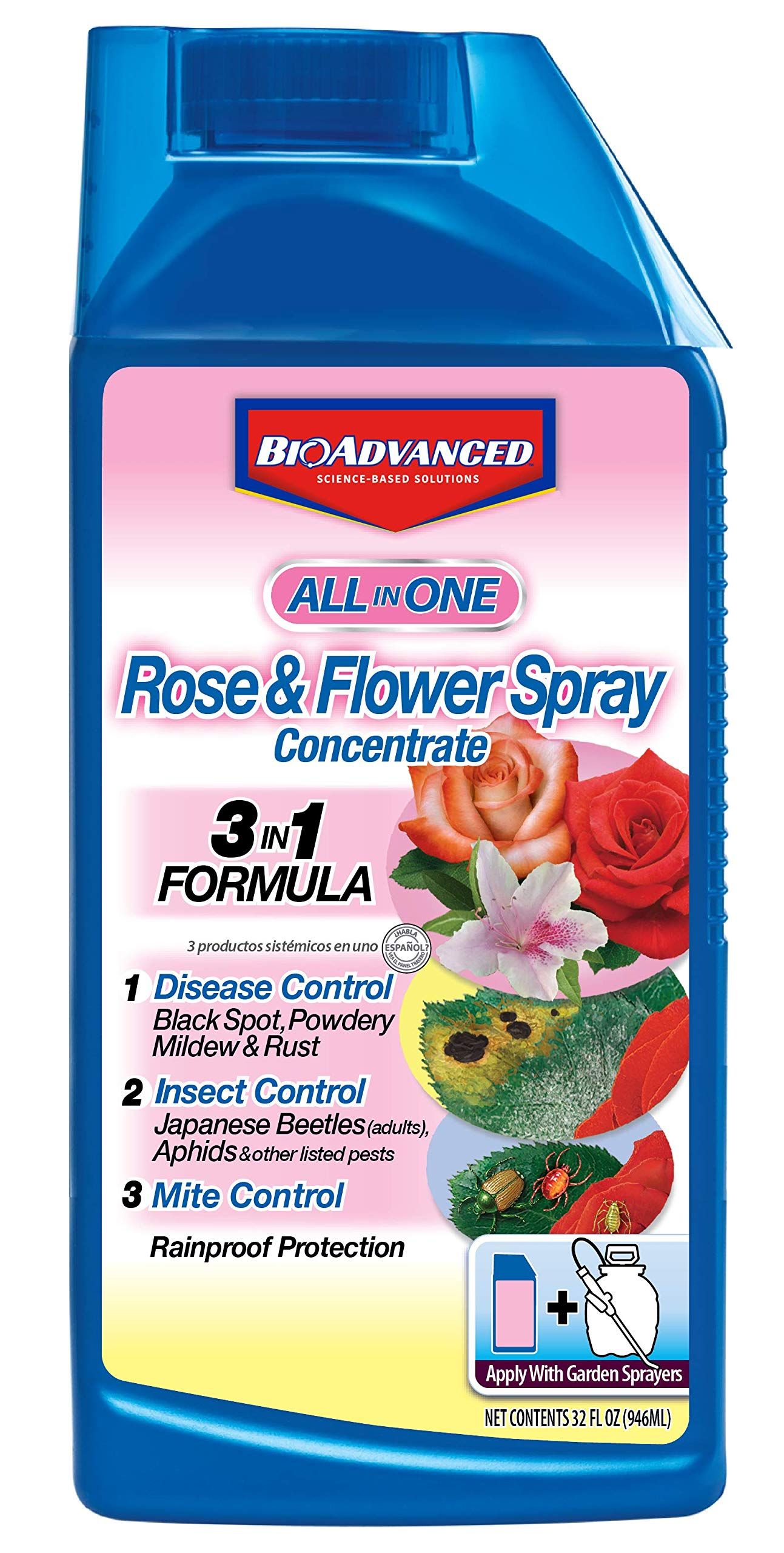 BioAdvanced 100532506 Bayer All in One Rose and Flower Care Spray Concentrate, 32 oz, White