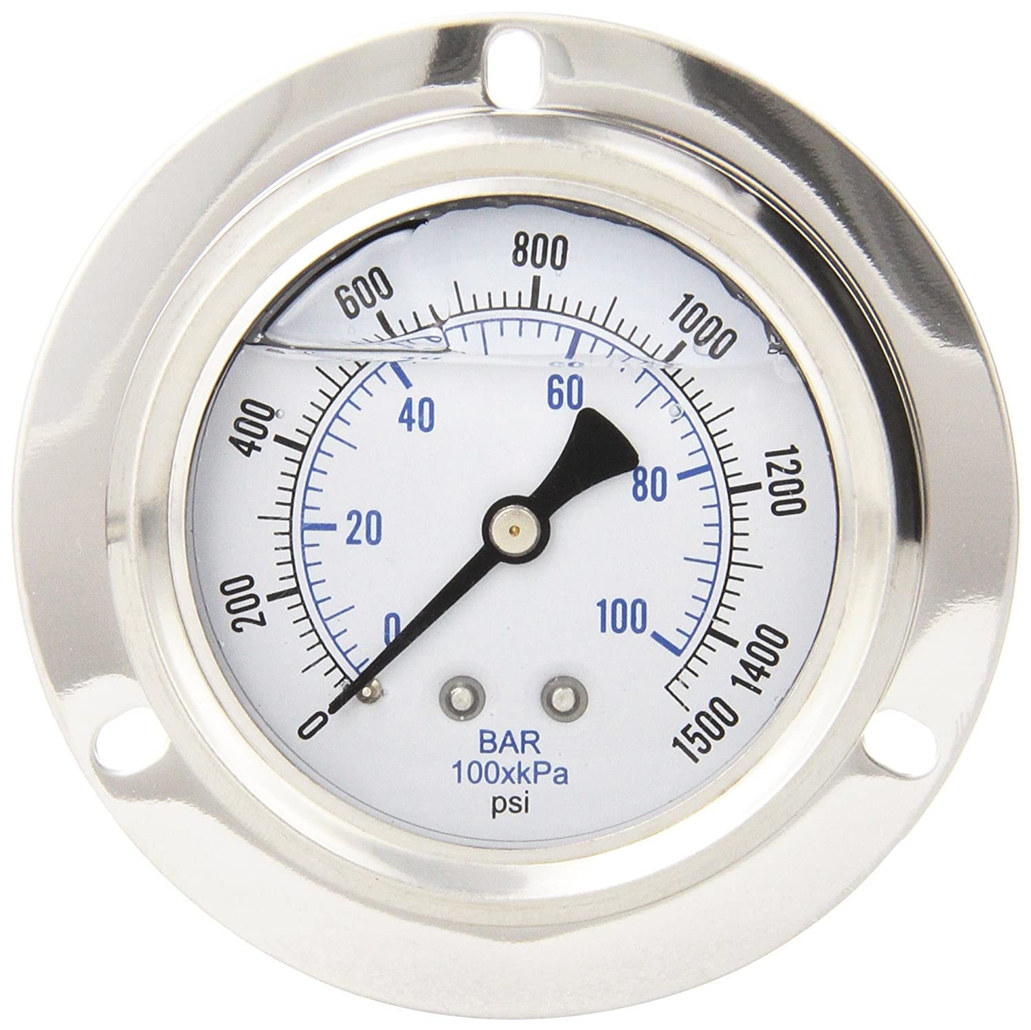 PIC Gauge PRO 204L 254N Glycerin Filled Industrial Front Flanged Panel Mount Pressure Gauge with Stainless Steel Case Brass Internals Plastic Lens 2 1 2 Dial Size 1 4 Male NPT 0 1500 psi