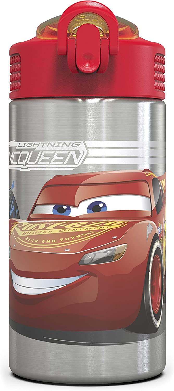 Zak Designs Disney Cars 3 - Stainless Steel Water Bottle with One Hand Operation Action Lid and Built-in Carrying Loop, Kids Water Bottle with Straw Spout is Perfect for Kids (15.5 oz, 18/8, BPA-Free)