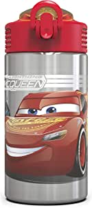 Zak! Designs Paw Patrol Stainless Steel Water Bottle with Flip Up Straw, Reusable & BPA-Free, 15 oz. 15.5oz Cars 3