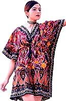 Hastkala Women's Short Sleeve Casual Solid Short Kaftan Dress Fashion