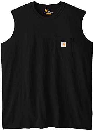 ef100411831cf8 Amazon.com  Carhartt Men s Big   Tall Workwear Pocket Sleeveless Midweight  T-Shirt Relaxed Fit  Tank Top And Cami Shirts  Clothing