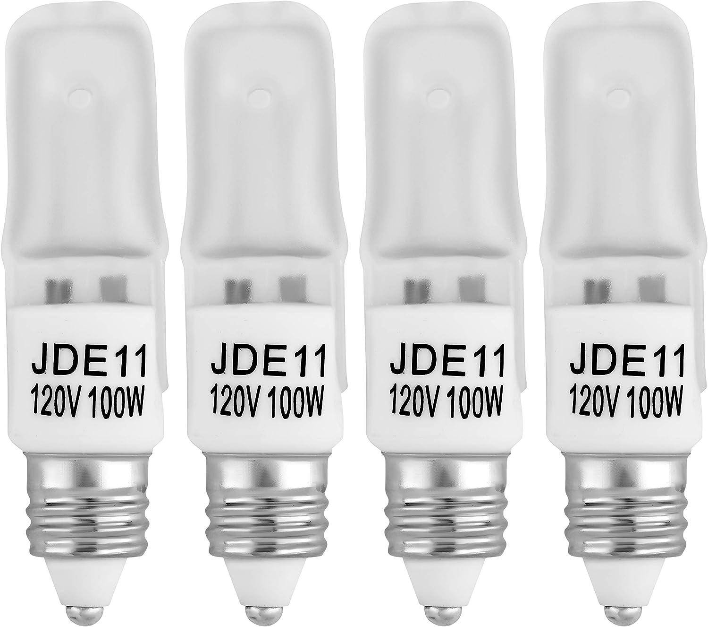 4-Pack E11 120V 100W Halogen JDE11 100W Bulb Warm White 100 Watt E11 Bulb JDE11