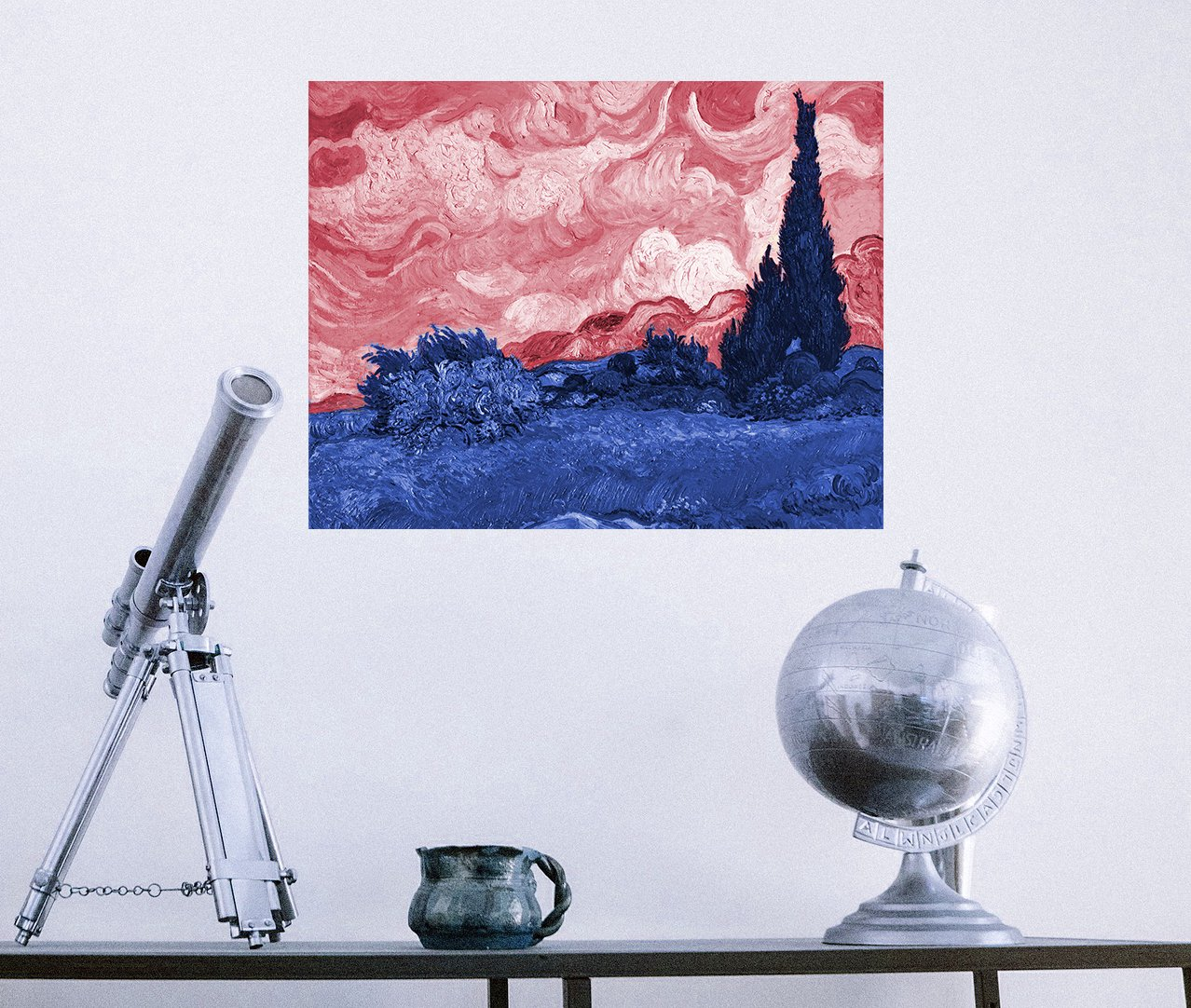ArtVerse VAN036A1418A Van Goghs Wheat Field with Cypresses in Red and Blue Removable Art Decal 14 x 18 RetailSource Ltd