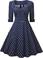 Miusol Elegant 50er Jahre Retro Polka Dots?Rockabilly Cocktailkleid Party Stretch Kleid Blau Gr.S-XXL