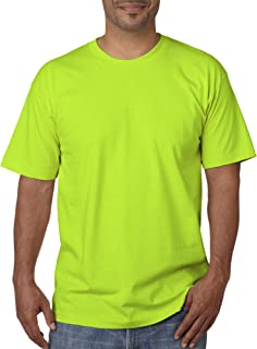 product image for Bayside Men's Classic Full Cut Ribbed Knit Tee, Small, Lime Green