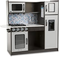"""Melissa & Doug Wooden Chef's Pretend Play Toy Kitchen With """"Ice"""" Cube Dispenser – Charcoal"""