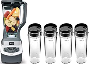 Professional Countertop Blender with 1100-Watt Base, 72oz Total Crushing Pitcher and (4) 16oz Cups for Frozen Drinks and Smoothies… (1100Watt 72oz Blender with 4 ToGo Cups)