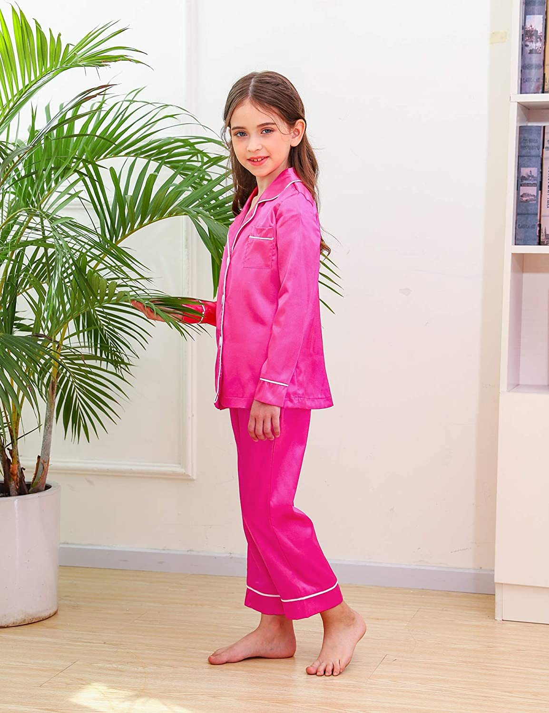Hawiton Girls Pyjamas Set Long Sleeve Kids Satin Sleepwear Tops Nightwear Pants