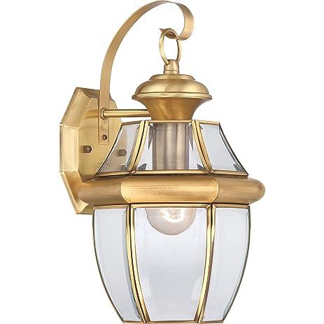 Quoizel ny8316b newbury 1 light outdoor wall lantern with polished quoizel ny8316b newbury 1 light outdoor wall lantern with polished brass finish aloadofball Images