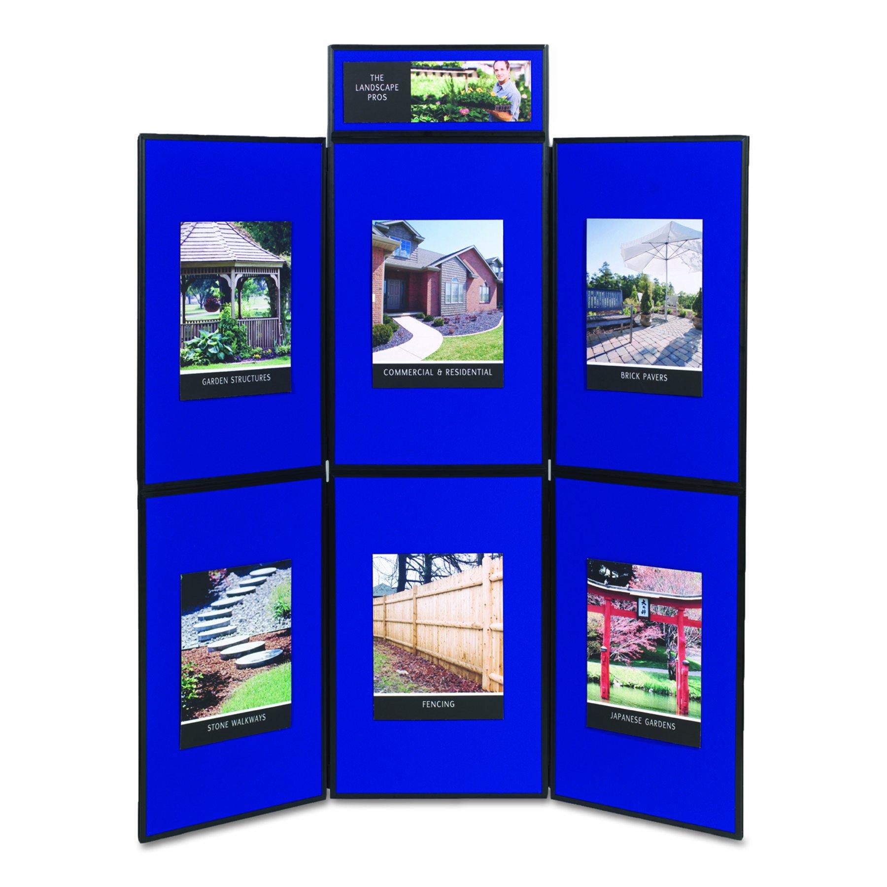 Quartet SB93516Q Show-It! Display System, 72 x 72, Blue/Gray Surface, Black Frame