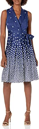 ANNE KLEIN Women's Notch Collar WRAP Dress