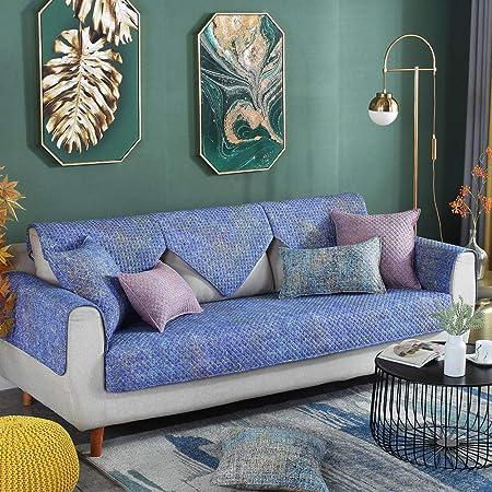 Cubre Chaise Longue,Juego de sábanas de tela de algodón de esquina para sala de estar,funda de sofá de cuero universal de 4 estaciones,sarga simple,funda de sofá moderna con todo incluido,cojín de: Amazon.es: