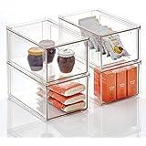 mDesign Organizador de cocina apilable de plástico, contenedor de almacenamiento de alimentos secos con cajón; contenedor par