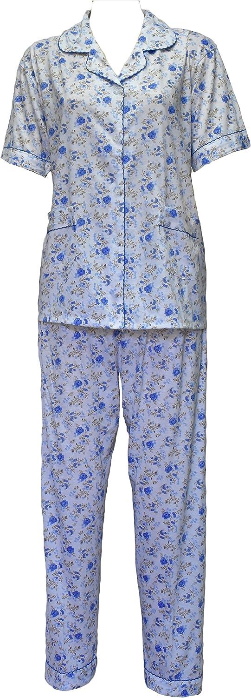 342 Womens Pyjamas Button Up Flower Print Pjs Night Suit Nighty Cotton Revere Collar 8-20